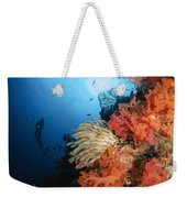 Diver Swims By A Soft Coral Reef Weekender Tote Bag