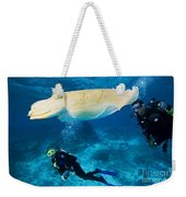 Divers Swim Near A Cuttlefish Weekender Tote Bag