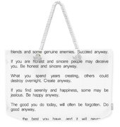 Do It Anyway By Mother Teresa 2 #minimalism #inspirational Weekender Tote Bag
