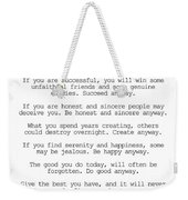 Do It Anyway By Mother Teresa #minimalism #inspirational Weekender Tote Bag