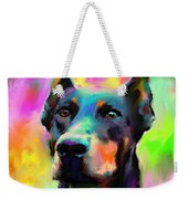 Doberman Pincher Dog Portrait Weekender Tote Bag by Svetlana Novikova
