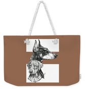 Cropped Doberman Pinscher And Pup Weekender Tote Bag