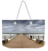 Dock With Benches, Saltburn, England Weekender Tote Bag