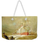 Docking A Cargo Ship Weekender Tote Bag