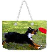 Dog And Red Frisbee Weekender Tote Bag