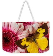 Dog Face Butterfly On Pink Mums Weekender Tote Bag