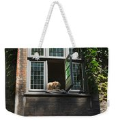 Dog In A Window Above The Canal In Bruges Belgium Weekender Tote Bag