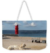 Dog Lying On The Beach In Front Of Red Lighthouse Of Cres Weekender Tote Bag