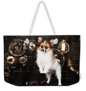 Dog On A Dark Background In The Style Of Steampunk Weekender Tote Bag