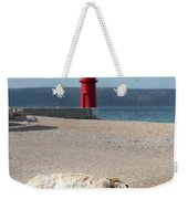 Dog Sleeping On The Beach In Front Of Red Lighthouse Of Cres Weekender Tote Bag