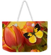 Dogface Butterfly And Tulips Weekender Tote Bag