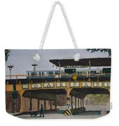 Dogs And Trains In The Village Weekender Tote Bag