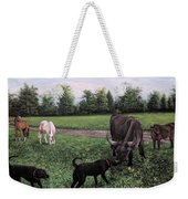 Dogs Meeting Bull Weekender Tote Bag