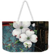 Dogwood Teal And Gold Weekender Tote Bag by Lucy West
