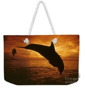 Dolphins And Sunset Weekender Tote Bag