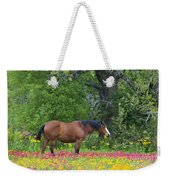 Domestic Horse In Field Of Wildflowers Weekender Tote Bag