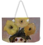 Dotted Vase With Yellow Flowers Weekender Tote Bag