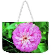 Double Pink Zinnia Weekender Tote Bag