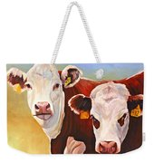 Double Trouble Hereford Cows Weekender Tote Bag