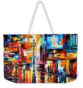 Downtown Lights - Palette Knife Oil Painting On Canvas By Leonid Afremov Weekender Tote Bag