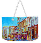 Downtown Montreal Street Rue Ste Catherine Vintage City Street With Shops And Stores Carole Spandau  Weekender Tote Bag