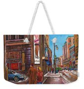 Downtown Montreal Streetscene At La Senza Weekender Tote Bag