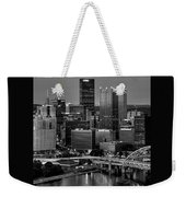 Downtown Pittsburgh At Twilight - Black And White Weekender Tote Bag