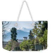 Downtown Street In Santiago De Chile City And Andes Mountains Weekender Tote Bag