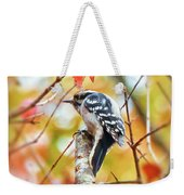 Downy Woodpecker In Autumn Forest Weekender Tote Bag
