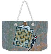 Downy Woodpecker In The Snow Weekender Tote Bag