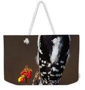 Downy Woodpecker On Tree Branch Weekender Tote Bag