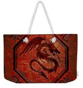 Dragon In An Octagon Frame With Chinese Dragon Characters Red Tint  Weekender Tote Bag
