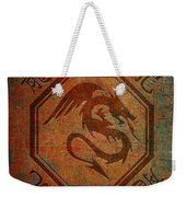 Dragon In An Octagon Frame With Chinese Dragon Characters Yellow Blue Tint  Weekender Tote Bag