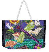 Dragonfly And Unicorn Weekender Tote Bag by Genevieve Esson