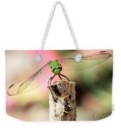 Dragonfly In The Petunias Weekender Tote Bag