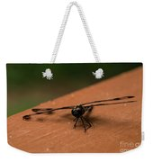 Dragonfly On A Porch Railing Weekender Tote Bag
