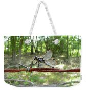 Dragonfly On Barbed Wire Weekender Tote Bag