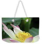 Dragonfly On Lotus Weekender Tote Bag