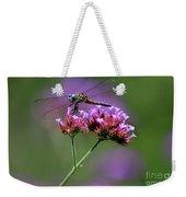 Dragonfly On Purple Verbena Weekender Tote Bag