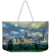 Dramatic Sky With Clouds Over Charlotte Skyline Weekender Tote Bag