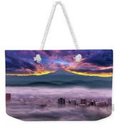 Dramatic Sunrise Over Foggy Downtown Portland Weekender Tote Bag