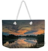 Dramatic Sunset Over The Misty River Weekender Tote Bag
