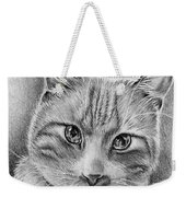Drawing Of A Cat In Black And White Weekender Tote Bag