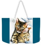 Dreamland - Bengal And Savannah Cat Painting Weekender Tote Bag