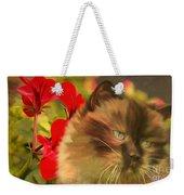 Dreamy Cat With Geranium 2015 Weekender Tote Bag