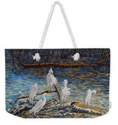 Yellow Billed Egrets On Driftwood Weekender Tote Bag