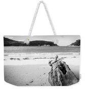 Driftwood On Beach Black And White Weekender Tote Bag