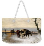 Driving The Herd Home In Wintry Landscape Weekender Tote Bag