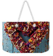 Dry Flower Wreath On Blue Door Weekender Tote Bag