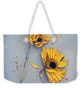 Dry Sunflowers On Blue Weekender Tote Bag